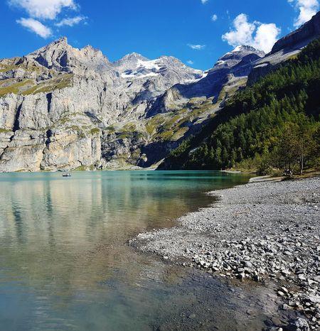 Handycam Samsungs7edge Turquoise Water Swiss Mountains Swisstravel Berner Oberland Bern Swiss Alps Oeschinen Lake Kandersteg, Switzerland Water Mountain Reflection Sky Mountain Range