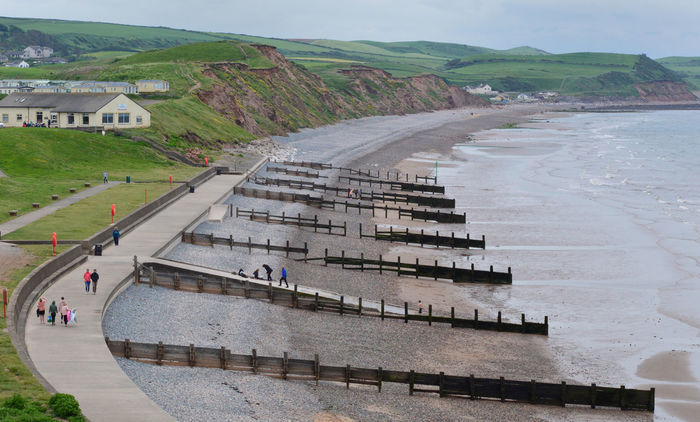 Cumbria St Bees Beach Architecture Building Building Exterior Built Structure City Day Environment Groynes High Angle View Incidental People Landscape Mode Of Transportation Mountain Nature Outdoors Road Sky Transportation Travel Water