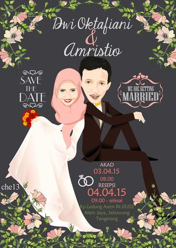Vector Art Save The Date Wedding Graphic Design Illustrator Couple