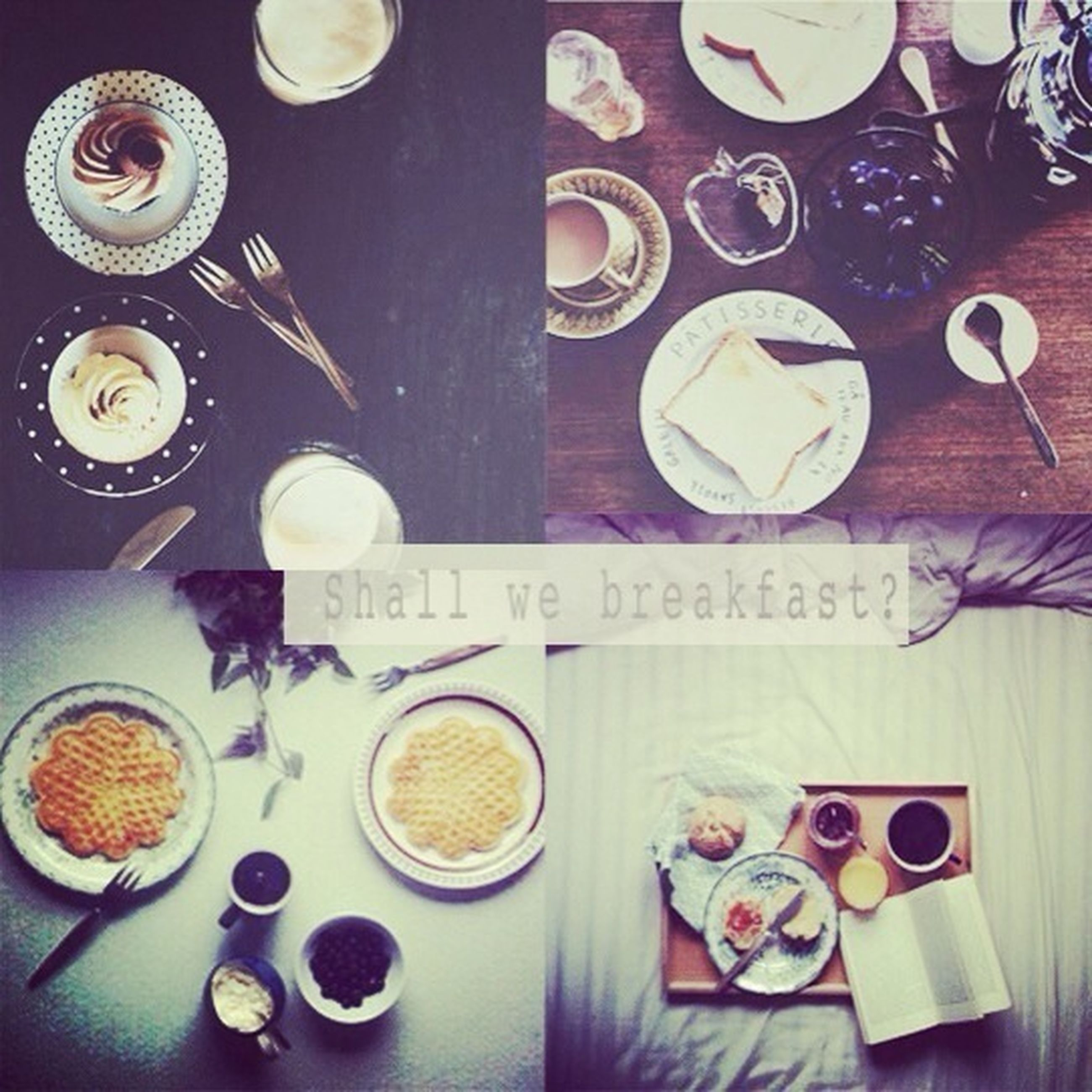 indoors, food and drink, table, still life, coffee cup, freshness, drink, coffee - drink, text, high angle view, food, refreshment, plate, communication, western script, cup, coffee, bowl, spoon, directly above