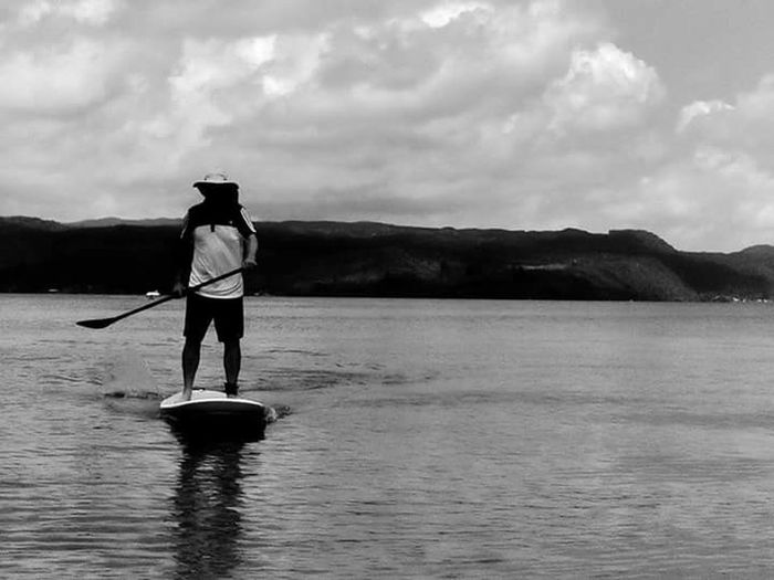 Lake Waters Paddle Boarding Monochrome Photography Black And White Shadows & Lights Silhouettes