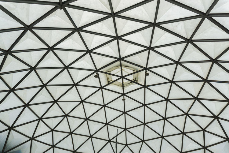 Abstract Architectural Feature Architecture Backgrounds Built Structure Ceiling Crisscross Day Design Directly Below Full Frame Geometric Shape Indoors  Low Angle View Metal No People Pattern Repetition Roof Shape Textured  Tiled Floor Triangle Shape