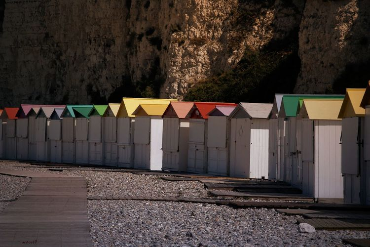 Colors Colors Cliffs France Wood Wooden Paint Cabin White Relaxing White Cliffs  Beach Sand Sky Colorful Multi Colored Countryside Scenics Idyllic