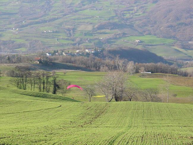 Emilia Romagna Field Green Color Italy Landscape Nature Outdoors Parachute Paragliding Parma Tizzano Val Parma Top Perspective