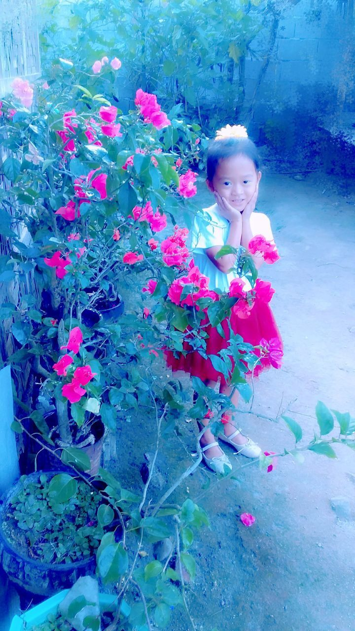 one person, plant, flower, flowering plant, child, looking at camera, real people, childhood, portrait, nature, girls, women, day, leisure activity, beauty in nature, freshness, females, innocence, outdoors