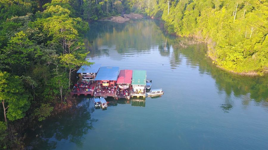 Houseboats Malaysia Scenery Lake House Boat Water High Angle View Lake Nature Waterfront Tree Outdoors Beauty In Nature Scenics