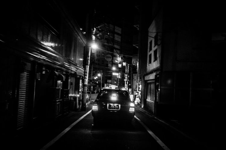 9999 Numbers Black And White B&w Street Photography Fine Art Backstreets & Alleyways Dark Darkness Japan Taxi Tokyo Urban Exploration City Darkness And Light Getting Inspired Illuminated Light And Shadow Night Night View No People Outdoors Street Transportation TakeoverContrast Perspective