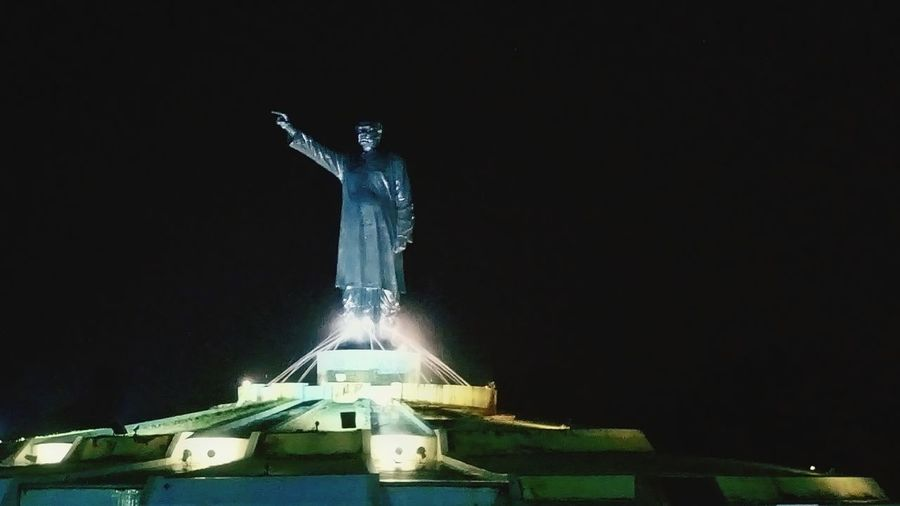 Night photography using mobile camera. Outdoors No People Statue