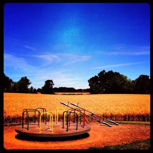 On The Playground Wheat Field Peoria Road Lake Creek Mennonite School