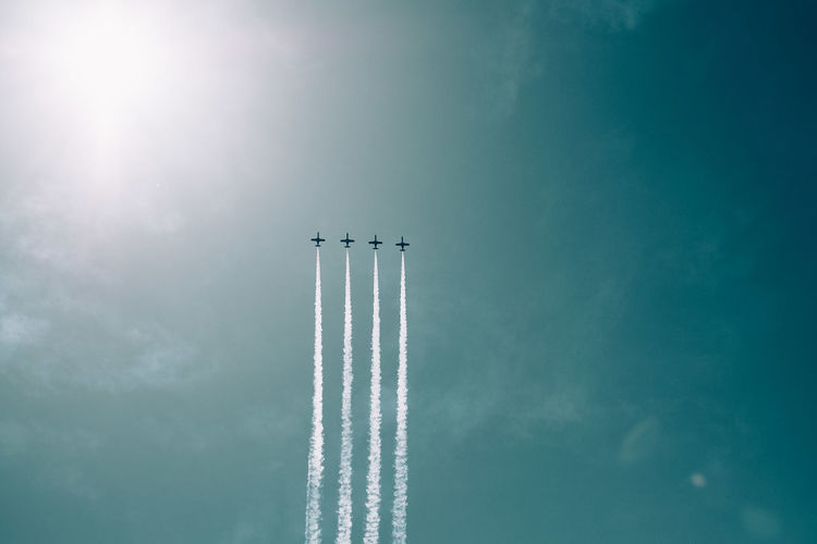 Aerobatics Aerospace Industry Air Vehicle Airplane Airshow Cloud - Sky Day Fighter Plane Flying Low Angle View Mid-air Mode Of Transportation Motion Nature No People on the move Order Outdoors Plane Sky Smoke - Physical Structure Speed Teamwork Transportation Vapor Trail
