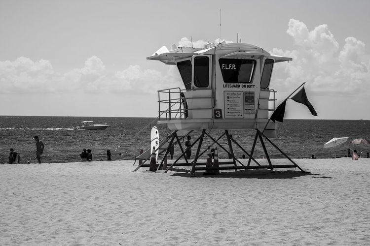Architecture Beach Black And White Black And White Photography Built Structure Cloud - Sky Horizon Horizon Over Water Hut Land Lifeguard  Lifeguard Hut Lifeguard Stand Man Made Structure Nature Ocean Outdoors Protection Safety Sand Sea Security Sky Water