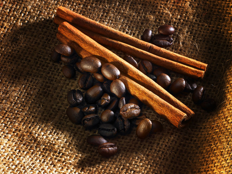 cinnamon stick and coffee beans Brown Cinnamon Cinnamon Sticks Close-up Coffee Beans Day Food Food And Drink Food Stories Freshness High Angle View Indoors  Ingredient No People Roasted Coffee Bean Sackcloth Still Life