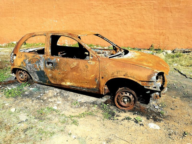 Abandoned Fired Car Transportation No People Land Vehicle Mode Of Transport Outdoors Day Orange Color Brown Color Old Nature Oxidation Process Art Is Everywhere BYOPaper!