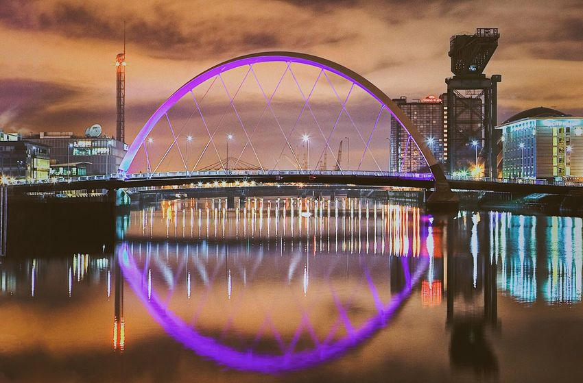 Night Water Long Exposure Reflection Illuminated Arts Culture And Entertainment No People Sky Outdoors Glasgow  Scotland Clyde Arc Squinty Bridge River Clyde River View Iconic Iconic Bridge Cultural Heritage Post Industrial