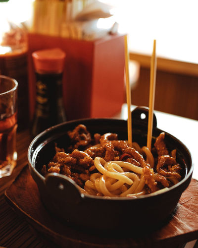 Close-up of japanese meal served on table