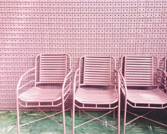 Chair No People Absence Outdoors Exterior Furnitures Furniture Design Pastel Pink Background Pattern The Street Photographer - 2017 EyeEm Awards