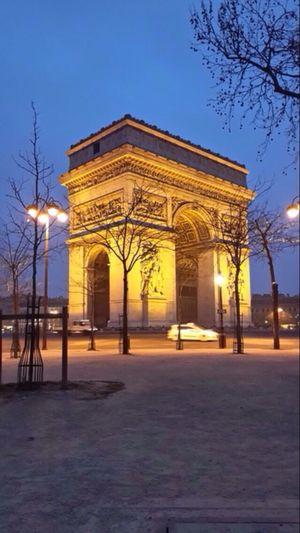 Light Night Lights Buliding Arts Europe City Life Archway Austerlitz No People Avenue Des Champs Elysees Arc De Triomphe De L'Étoile War Darkness And Light Morning Paris, France