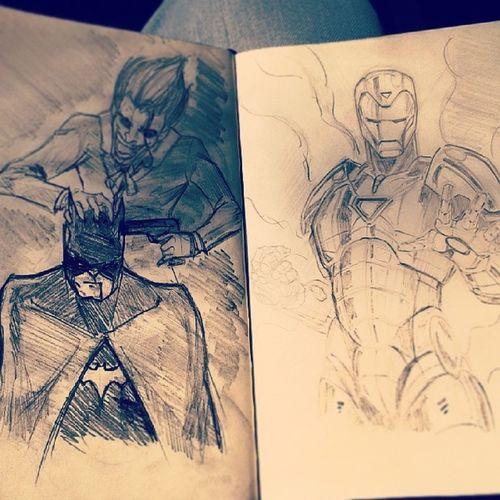 Sketch Albumdisegni Intreno Joker batman ironman matita istasta