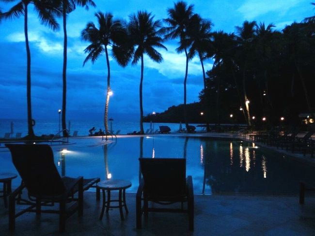 Newcaledonia Honeymoon Hotel Palm Tree Tree Sky Water Sea Reflection Dusk Blue Cloud - Sky Table Swimming Pool Beach City No People Outdoors Scenics Nature Night