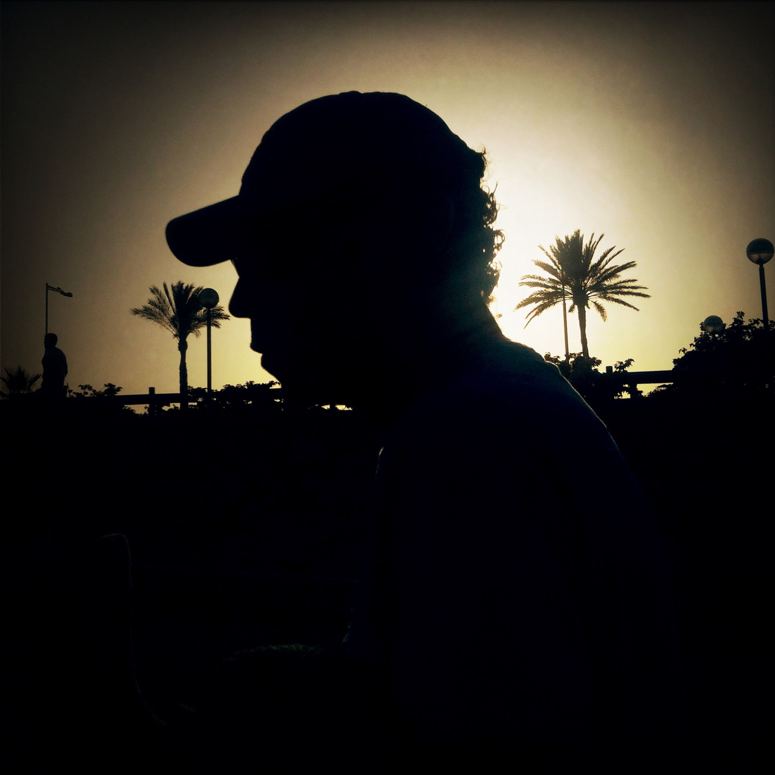 silhouette, lifestyles, leisure activity, sky, standing, men, rear view, dark, three quarter length, sunset, waist up, night, side view, copy space, person, photographing, clear sky, headshot