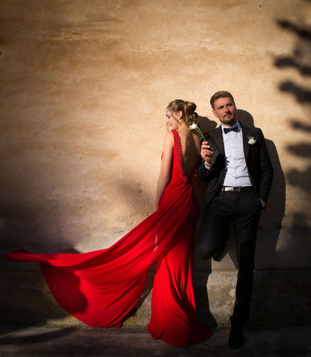 Beautiful People Beauty Day Evening Gown Light And Shadows Moment Outdoors People Red Romantic Sunset Togetherness Two People Warm Light