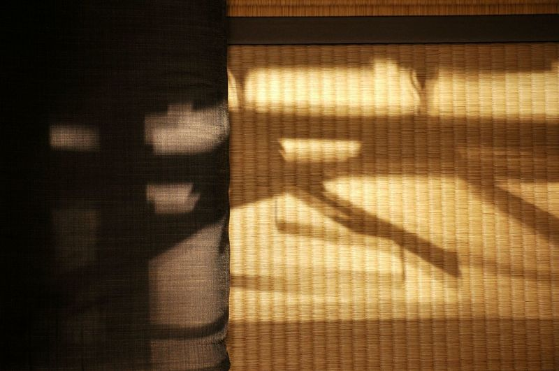 Close-up of shadow on curtain