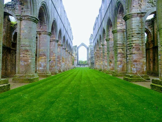 Grass Green Color Day No People Outdoors Architecture Sky Fountains Abbey Fountains Abbey, Yorkshire Ruins_photography Abbey Ruins EyeEmNewHere