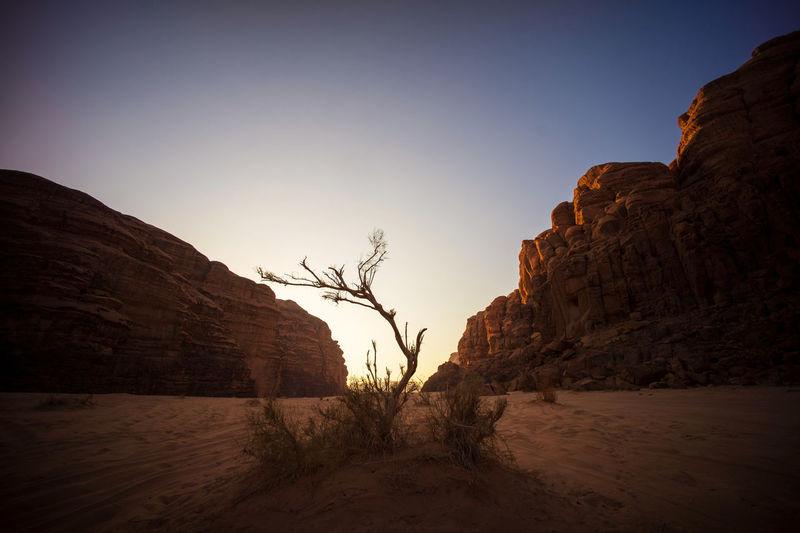 Scenic sunset in wadi rum