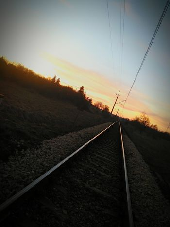 Sunset Road Railroad Track No People Rural Scene Sunlight Transportation Agriculture Nature The Way Forward Sky Outdoors Backgrounds Scenics Day Beauty In Nature Technology
