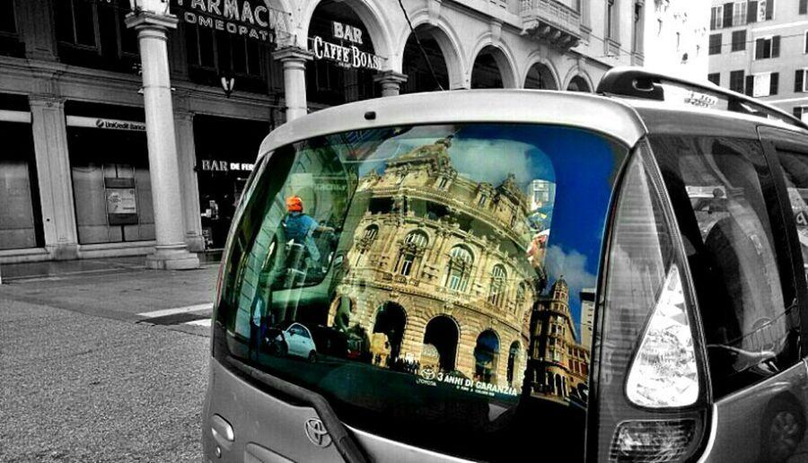 Reflection Reflection On Car Piazza De Ferrari