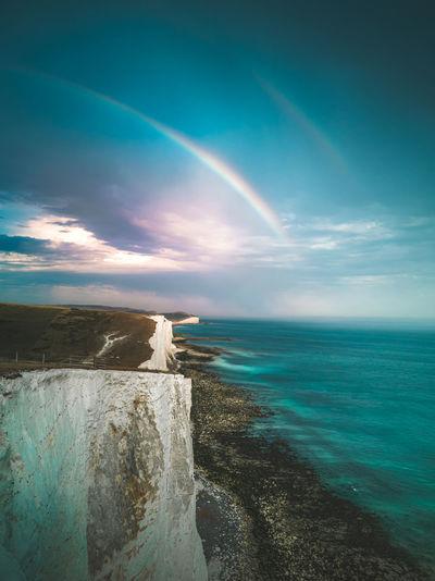 Scenic view of double rainbow