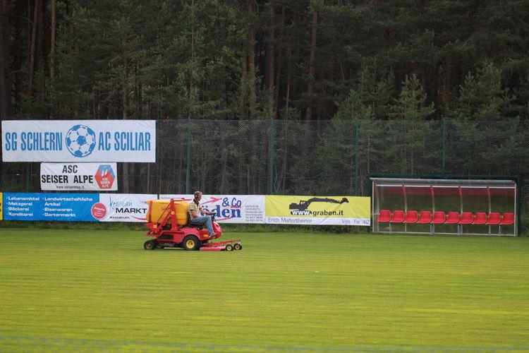 Day Field Maintenance Football Field Forest Land Vehicle Outdoors Publicity Südtirol