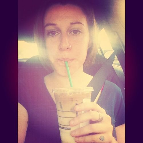 This is what all my selfies would look like if I had a car in NYC. I would always go to drive thrus and sit in the car waiting for my mom to make moves. Selfie Icedcoffee Frenchvanilla Macchiato obsessed coffee fix denver colorado starbucks lesbian lgbtqtravelers gay ghey