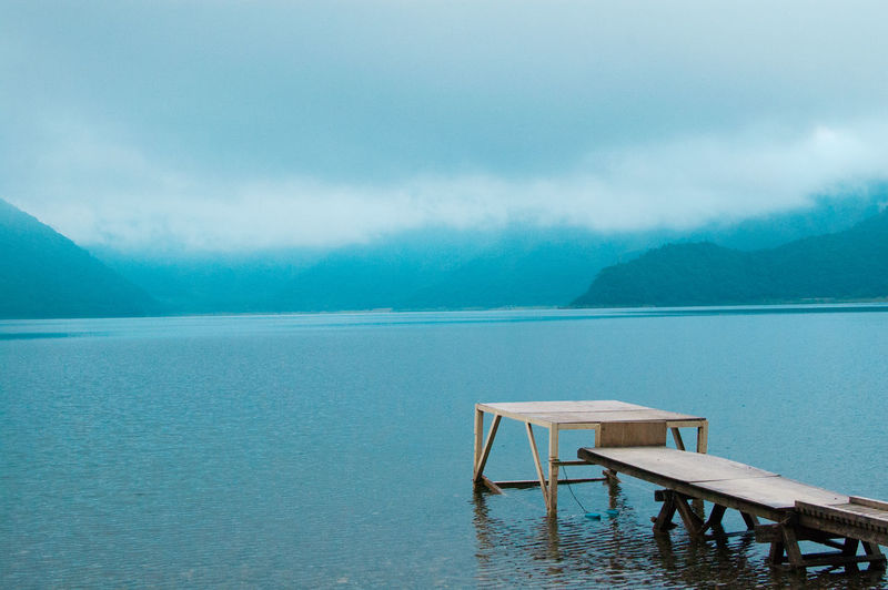 Nature scape of Japan. Many kinds of natures in the world. Water Tranquility Beauty In Nature Scenics - Nature Sky Tranquil Scene Mountain Nature Cloud - Sky No People Day Lake Idyllic Waterfront Blue Pier Outdoors Turquoise Colored