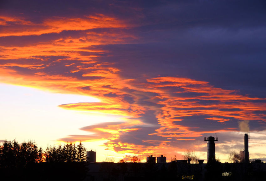 Sky Cloud - Sky Sunset Building Exterior Architecture Built Structure Orange Color Silhouette Industry Building Factory Dramatic Sky Pollution Environmental Issues