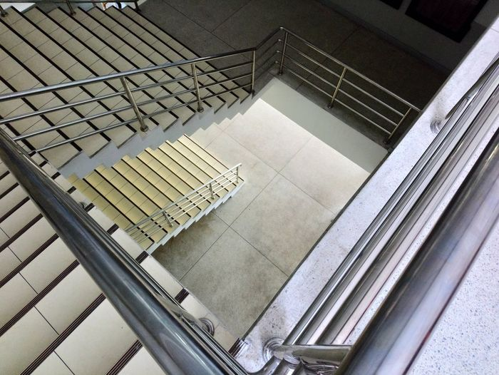 High angle view of spiral staircase of building