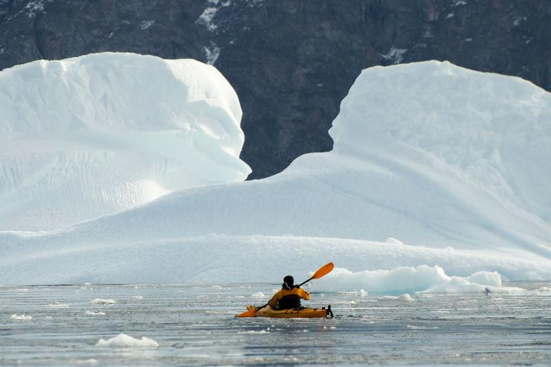 Kayak in Arctic Spitsbergen Arctic Iceberg Kayak Polar Climate Svalbard