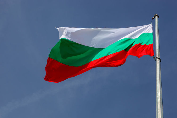 Bulgarian Flag High In Heaven Flag Patriotism Wind Red Sky Low Angle View Environment Pole Waving No People Nature Blue Day Multi Colored Green Color White Color Emotion Shape National Icon Bulgaria Bułgaria Bulgarian Bulgaria❤️