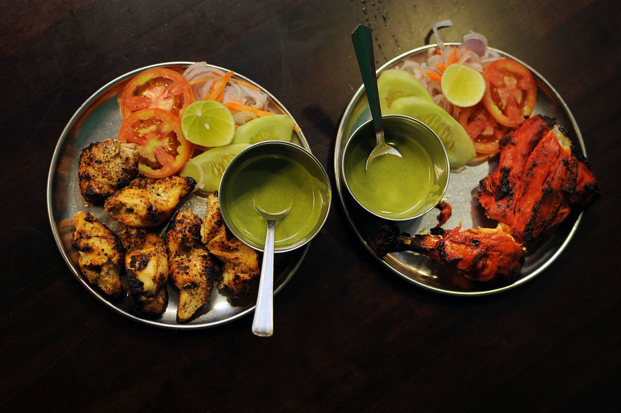 Indian Tandoori Chicken set BBQ Close-up Cuisine Cultures Food Food And Drink Freshness Indian Food Indoors  Meal No People Plate Ready-to-eat Sauce Table Tandoori TandooriChicken Top View Food Stories