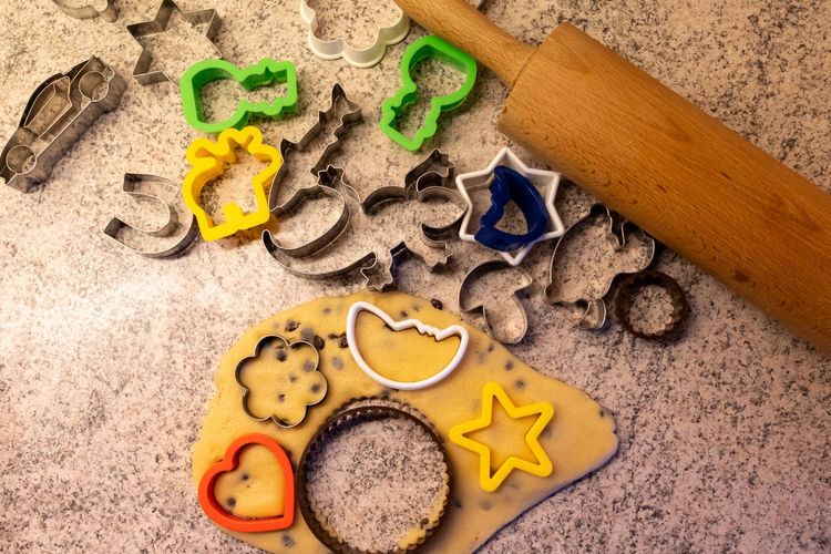 High angle view of cookies on sand