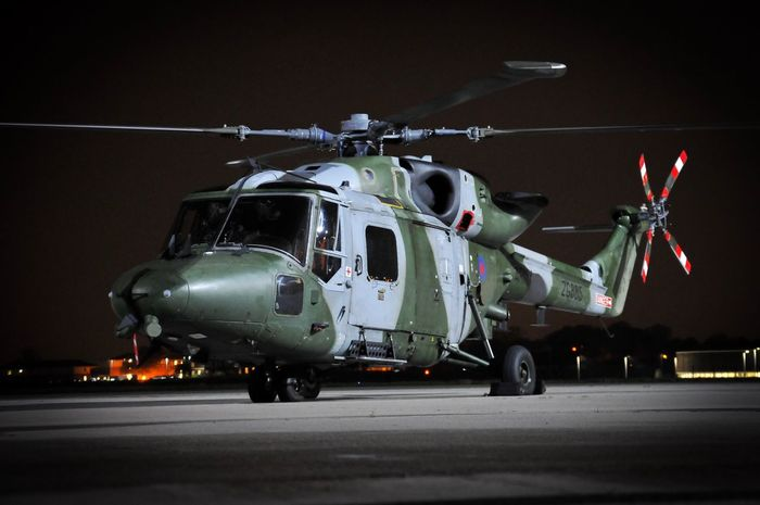 British Army Westland Lynx Military Air Vehicle Transportation Helicopter Airport Runway Mode Of Transport Army Aerospace Industry Air Force Military Airplane War Illuminated Outdoors Night