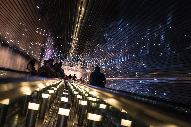 People on illuminated ferris wheel at night