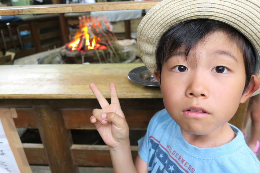 Child Portrait One Person Headshot Son Outdoor 川魚 塩焼き Powershot G9 Ehime Ehime,Japan
