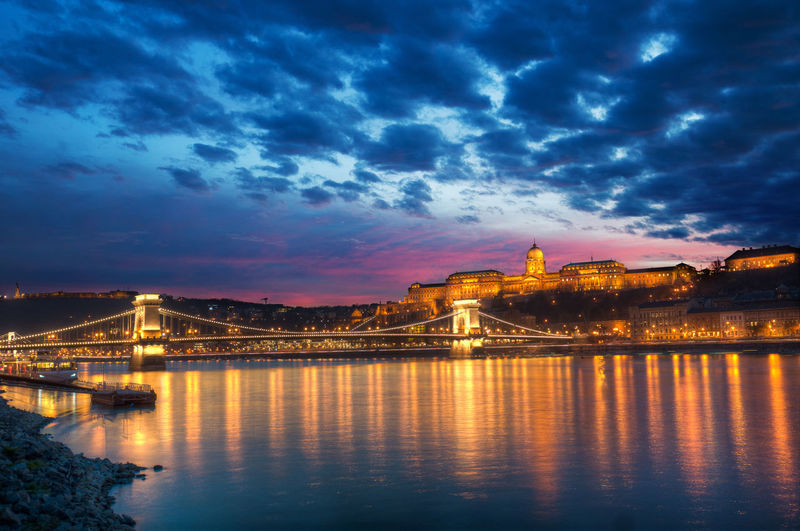 Architecture Bridge Bridge - Man Made Structure Budapest Built Structure Capital Cities  City Cityscape Cloud Cloud - Sky Cloudy Connection Engineering Hungary Illuminated No People Outdoors Reflection River Sky Sunset Tourism Travel Destinations Water Waterfront