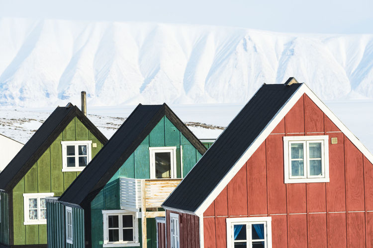 Houses on snow covered landscape against house