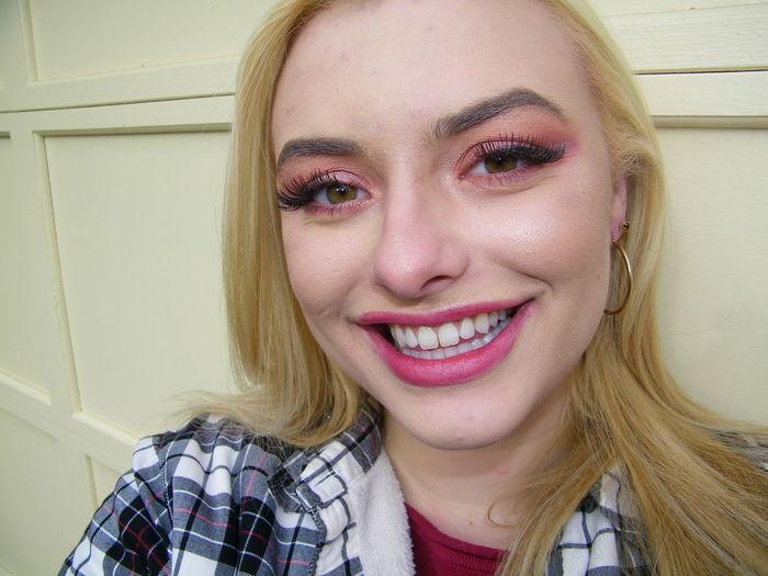 Portrait Blond Hair Smiling Young Women Beauty Happiness Looking At Camera Cheerful Headshot Beautiful Woman Human Lips Eyebrow Pink Lipstick  Mascara Eye Make-up Eyeshadow Lip Gloss Eyeliner Eyelid Human Nose Lipstick Eyelash