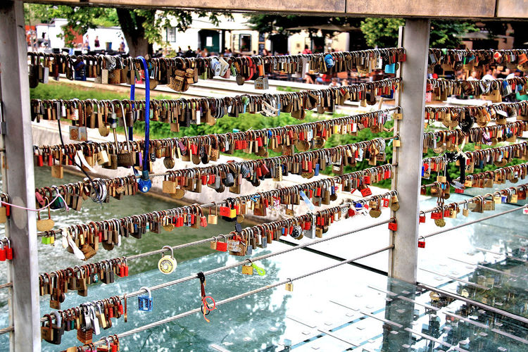 Young love Ljubljana Ljubljana, Slovenia Slovenia Vacations Abundance Choice Crowd Day Hanging High Angle View In Love In A Row Large Group Of Objects Lock Love Lock On Trend Outdoors Padlock Positive Emotion Protection Railing Safety Security Tourism Variation