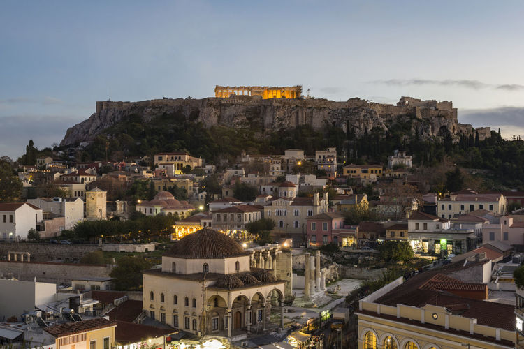 View of Monastiraki and Acropolis at dusk. Athens, Greece Ancient Architecture Monastiraki Parthenon Plaka Rock Formation Rooftop Square Acropolis City Cityscape Culture Dusk History Idyllic Illuminated Landmark Night Picturesque Scenics Sunset Top View Tourism Travel Destinations Vibrant