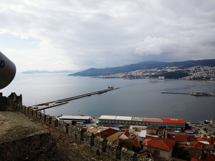 Kavala @ Kavala In Greece  Castle Port Enjoying The View From My Point Of View Sea And Sky Clouds And Sky Clouds