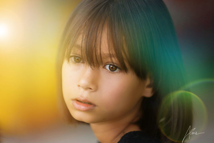 Headshot Portrait Childhood Child One Person Close-up Offspring Body Part Looking Innocence Human Body Part Focus On Foreground Contemplation Women Girls Indoors  Females Hairstyle Bangs Human Face